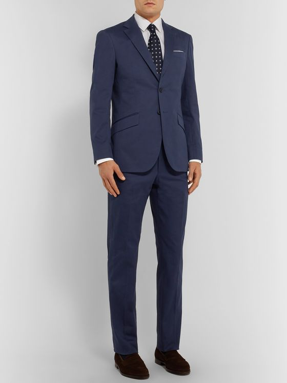 Richard James Navy Stretch-Cotton Twill Suit Trousers