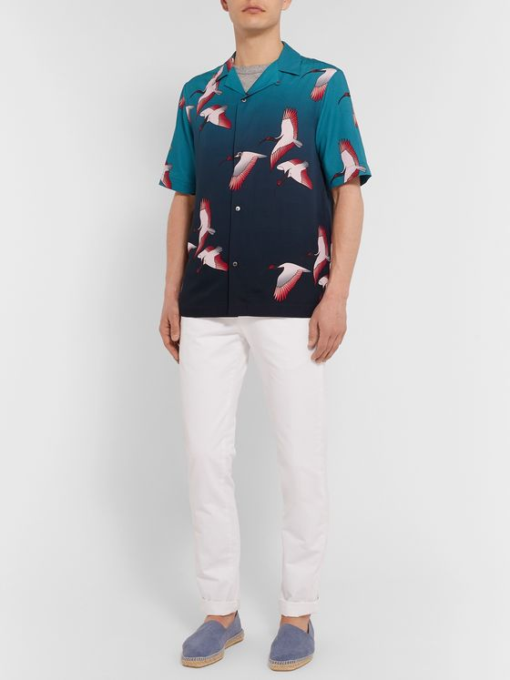 Paul Smith Camp-Collar Printed Tencel and Linen-Blend Shirt