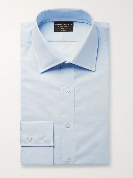 Emma Willis Light-Blue Slim-Fit Slub Cotton Shirt