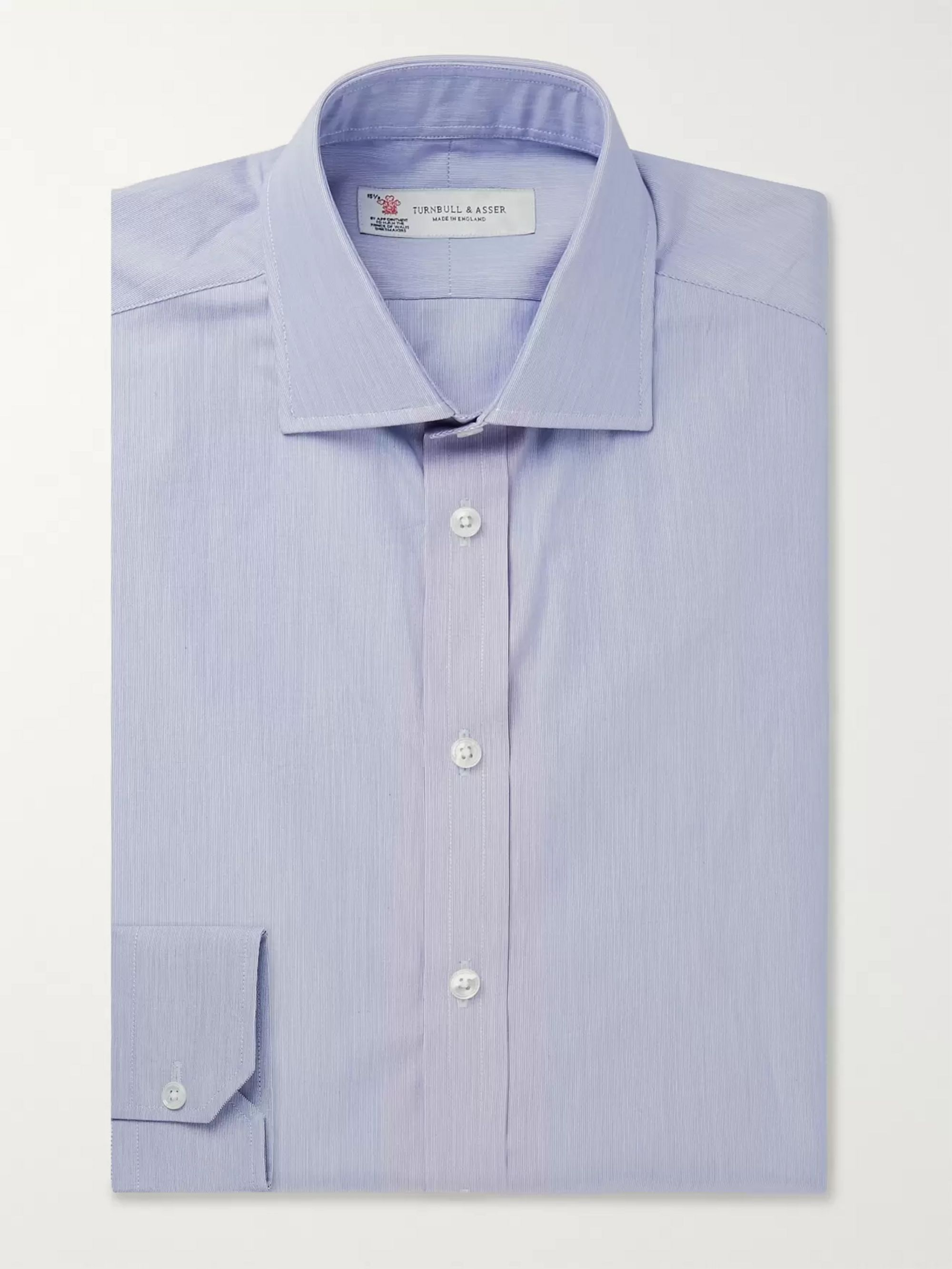 Turnbull & Asser Navy Slim-Fit Striped Cotton Shirt