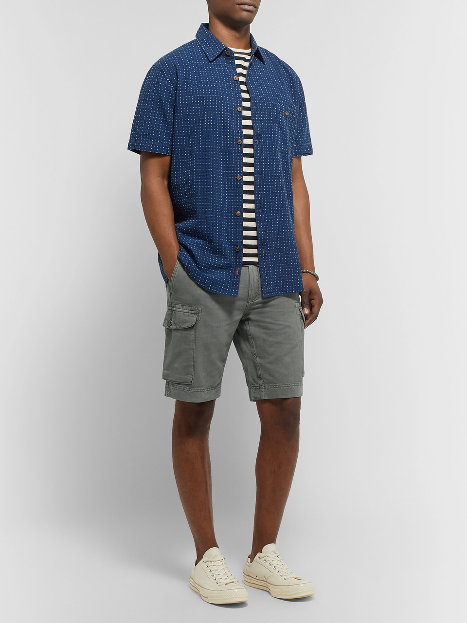 Faherty Wide-Leg Linen and Cotton-Blend Cargo Shorts