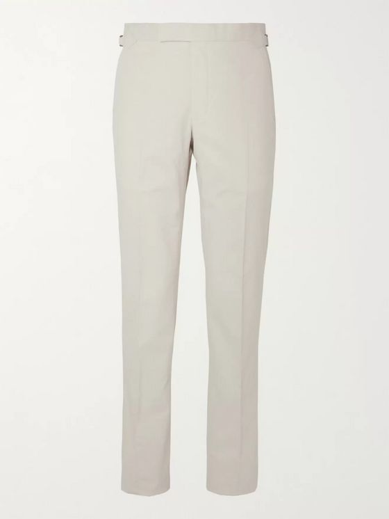 Richard James Cream Cotton-Corduroy Suit Trousers