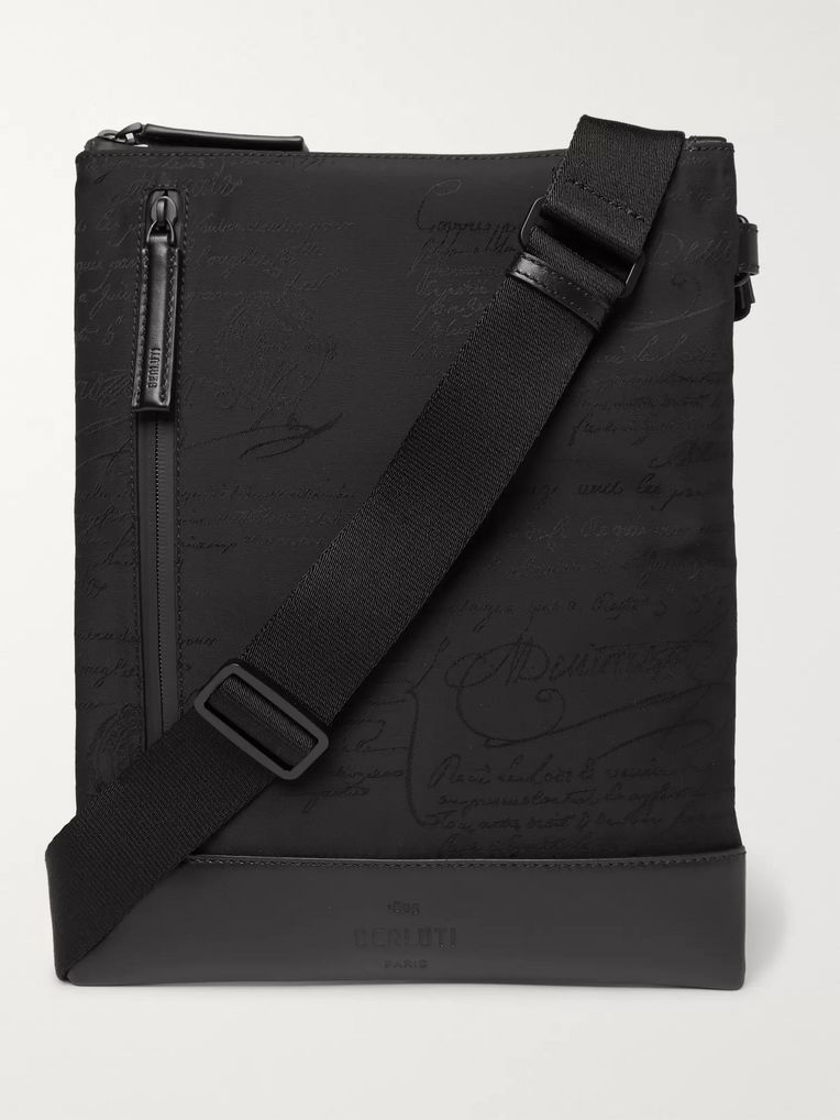Berluti Salou Leather-Trimmed Printed Nylon Messenger Bag