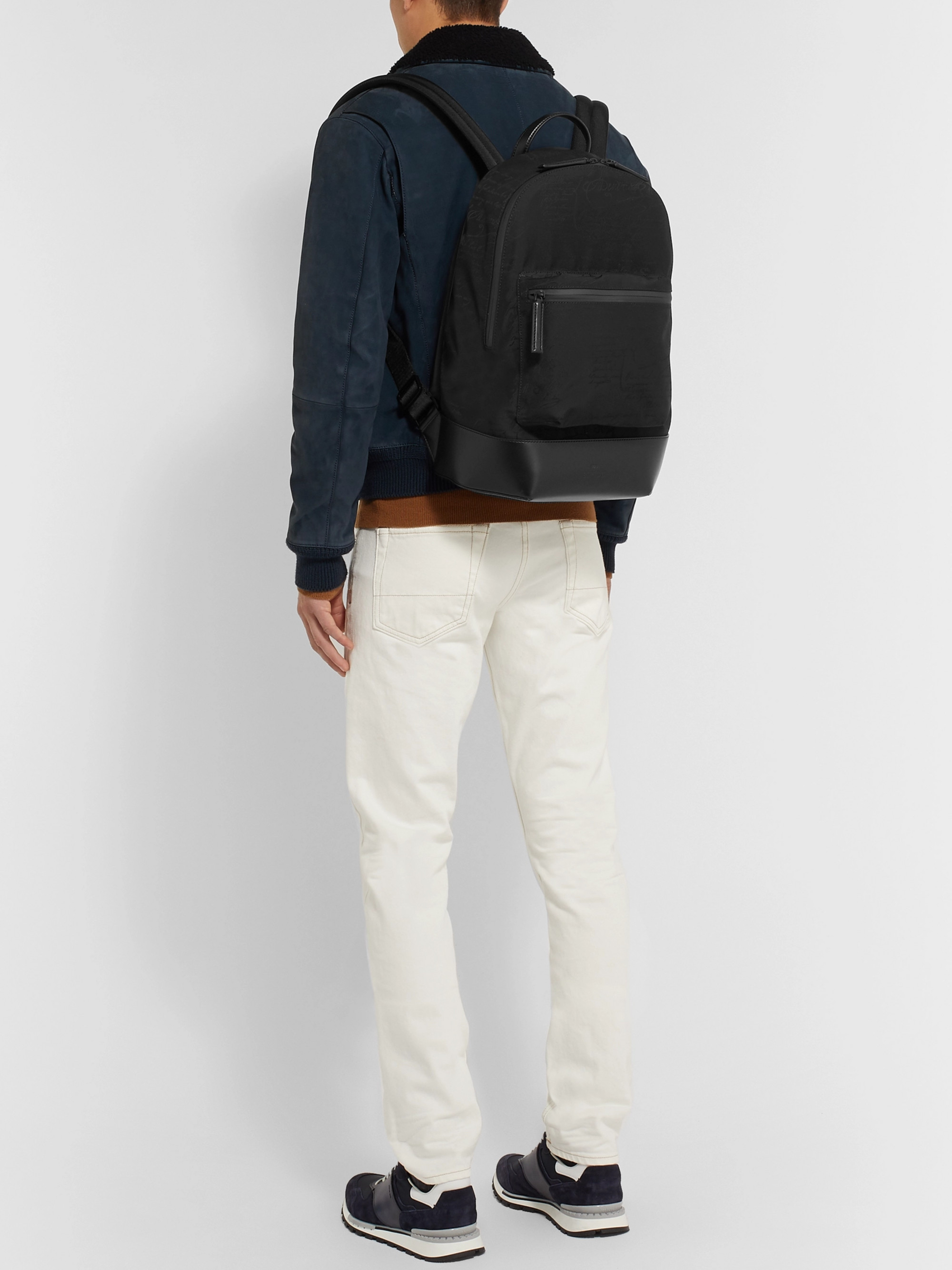 Berluti Volume Leather-Trimmed Nylon Backpack