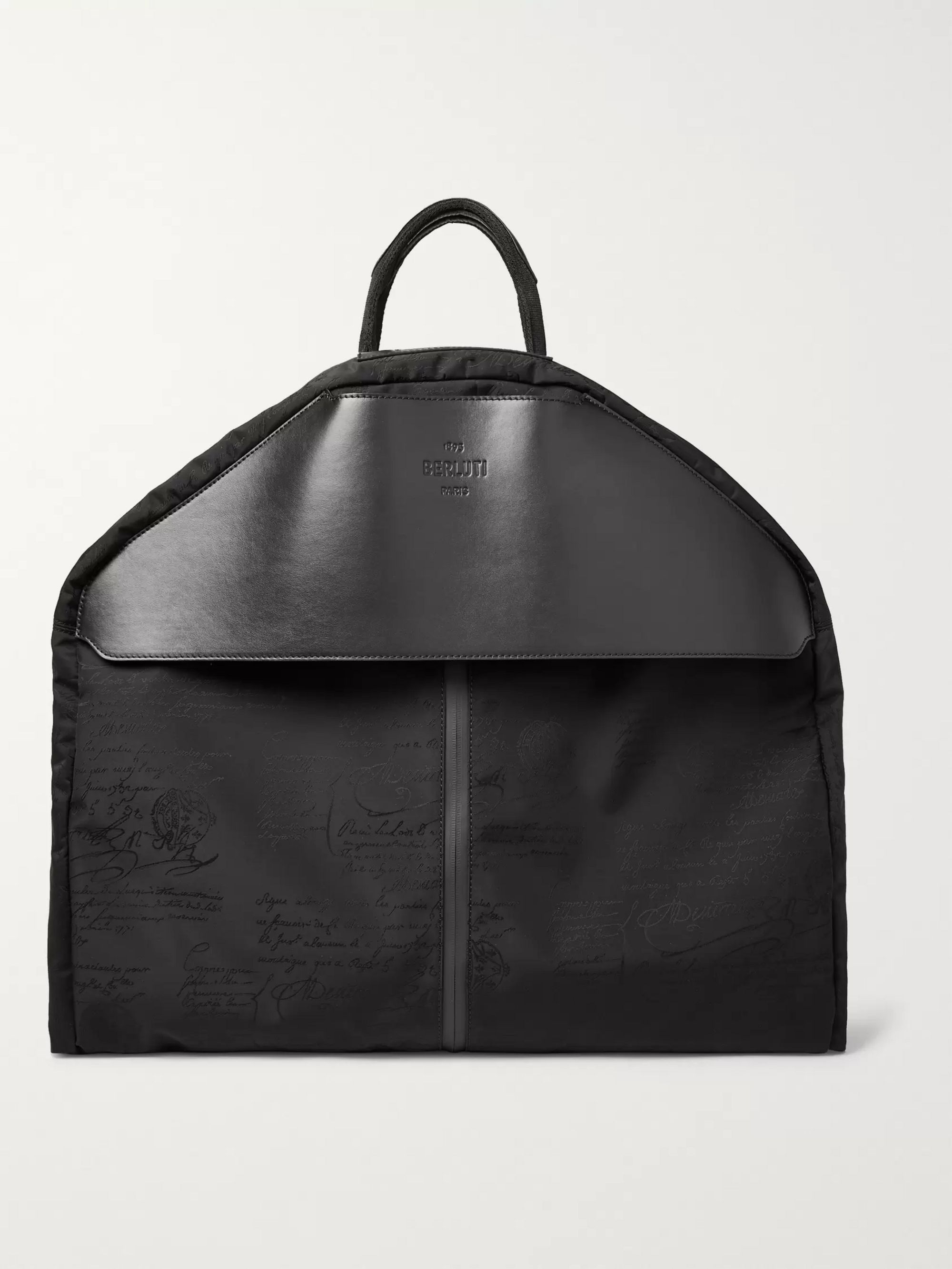 Berluti B-Way Scritto Leather-Trimmed Nylon Garment Bag