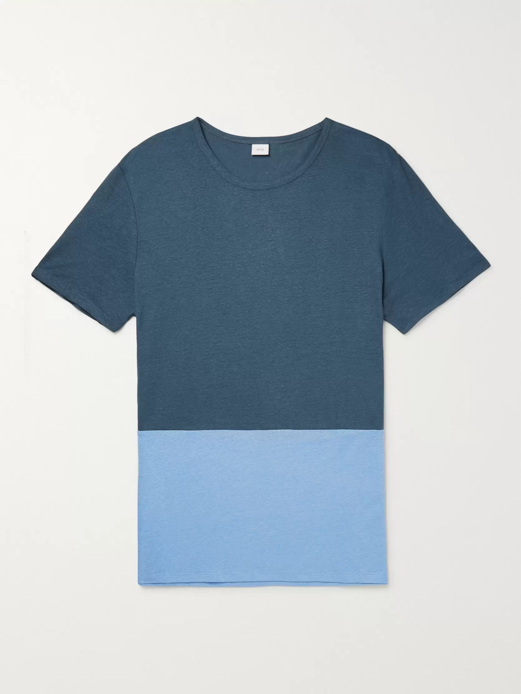 Onia Chad Colour-Block Linen and Modal-Blend T-Shirt