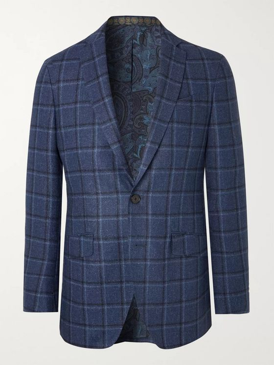 Etro Navy Slim-Fit Checked Wool and Silk-Blend Blazer