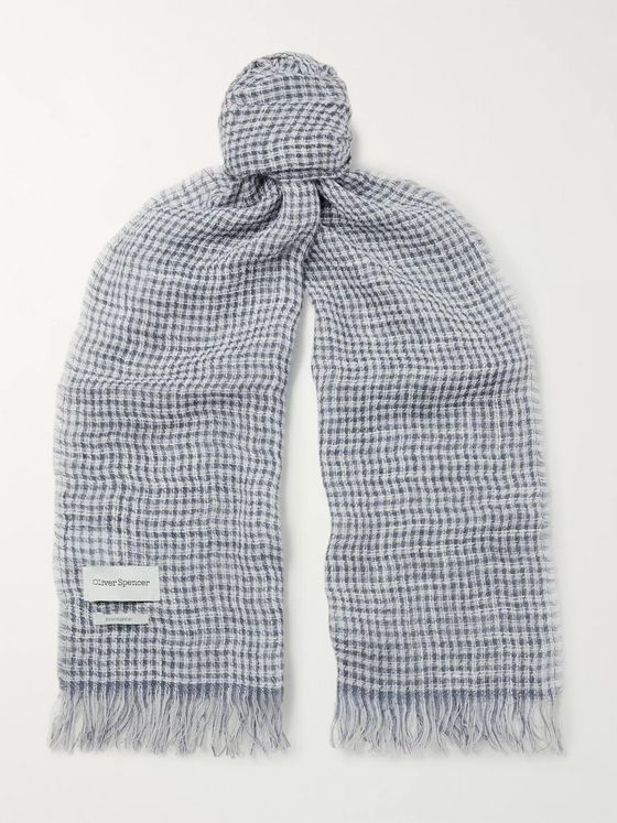 Oliver Spencer Serio Fringed Checked Linen-Blend Scarf