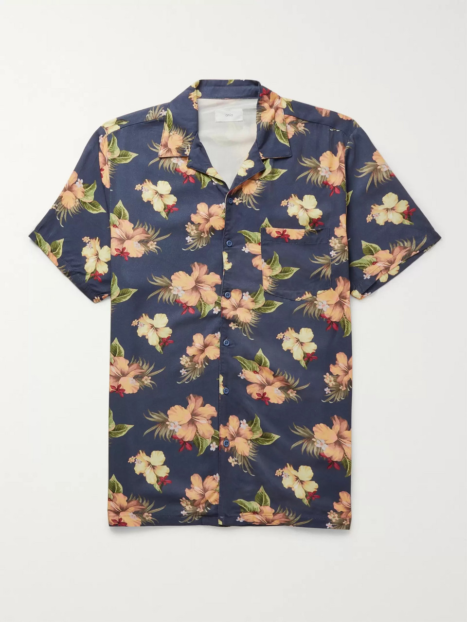 Onia Camp-Collar Printed Voile Shirt