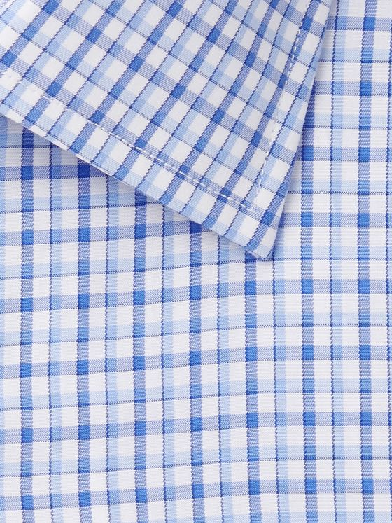 Etro Blue Slim-Fit Micro-Checked Cotton-Poplin Shirt