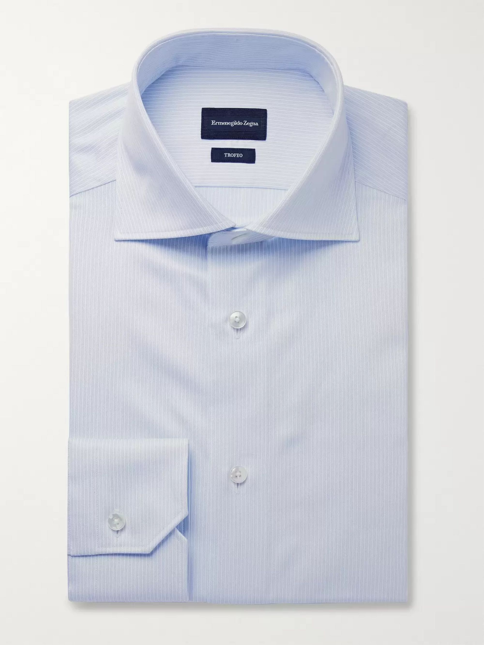 Ermenegildo Zegna Blue Trofeo Slim-Fit Cutaway-Collar Pinstriped Cotton-Poplin Shirt