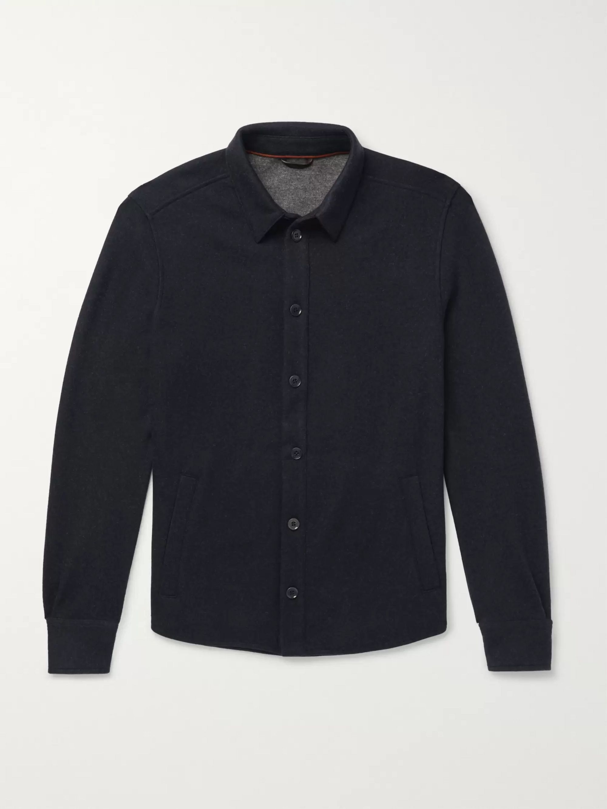 Loro Piana Suede-Trimmed Mélange Cashmere-Blend Overshirt