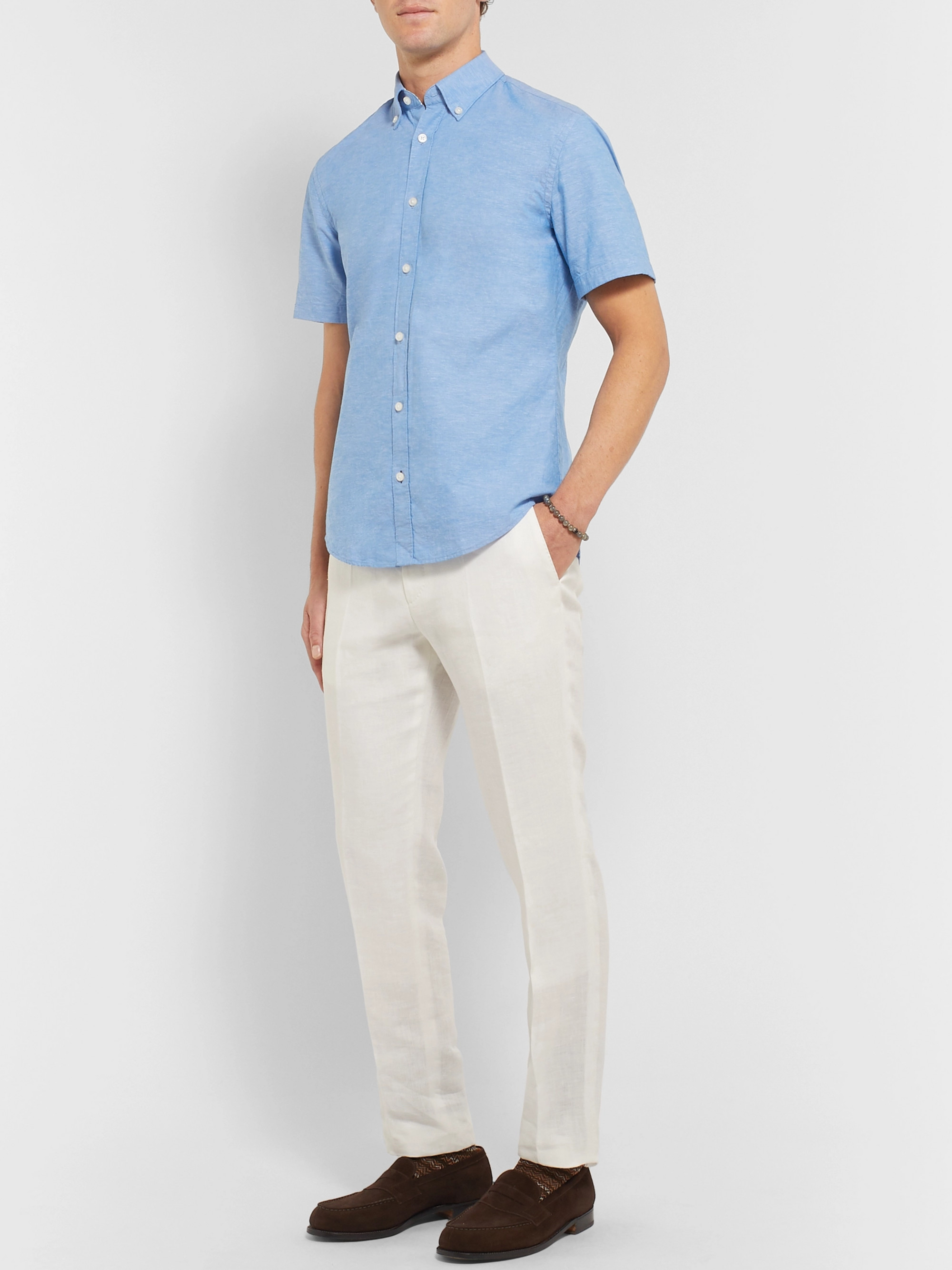 Hugo Boss Roddy Slim-Fit Button-Down Collar Cotton and Linen-Blend Shirt