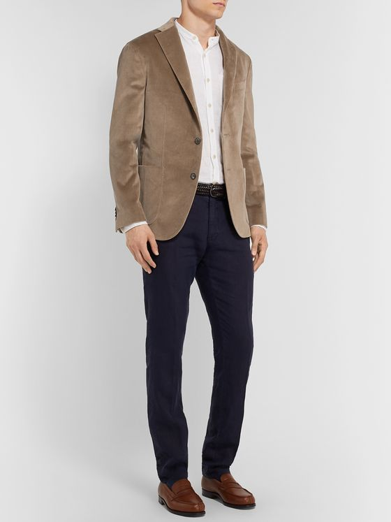 Boglioli Blue K-Jacket Slim-Fit Unstructured Cotton-Blend Velvet Blazer