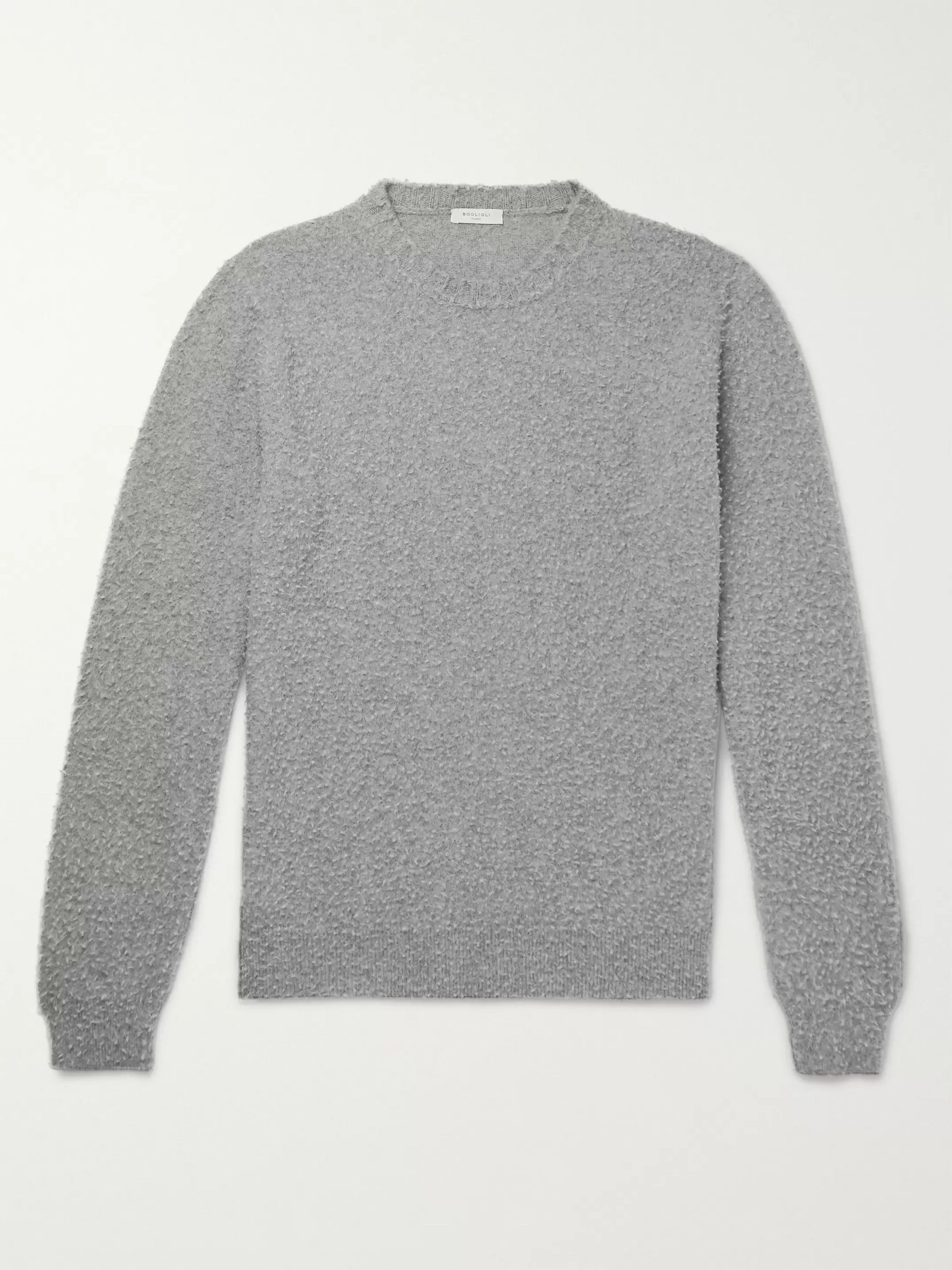 Boglioli Textured Virgin Wool and Cashmere-Blend Sweater