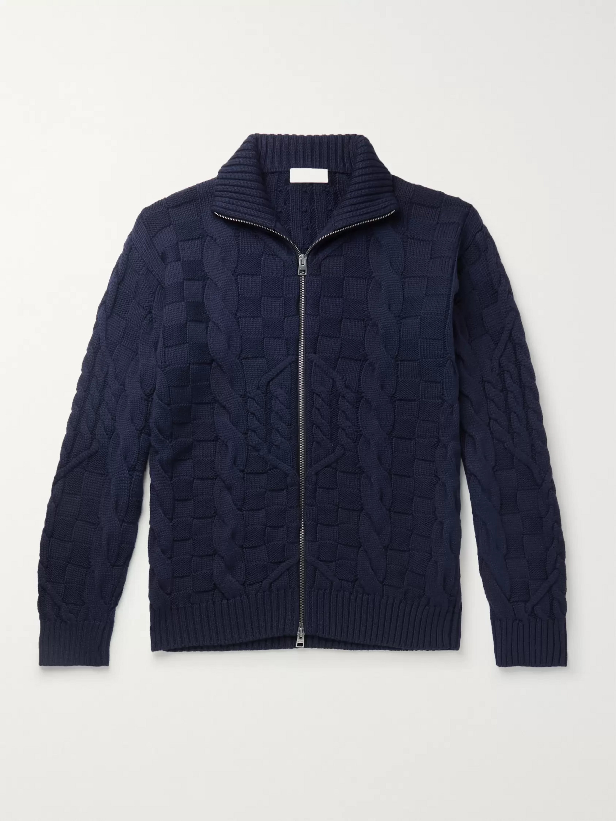 Etro Slim-Fit Cable-Knit Wool Zip-Up Cardigan