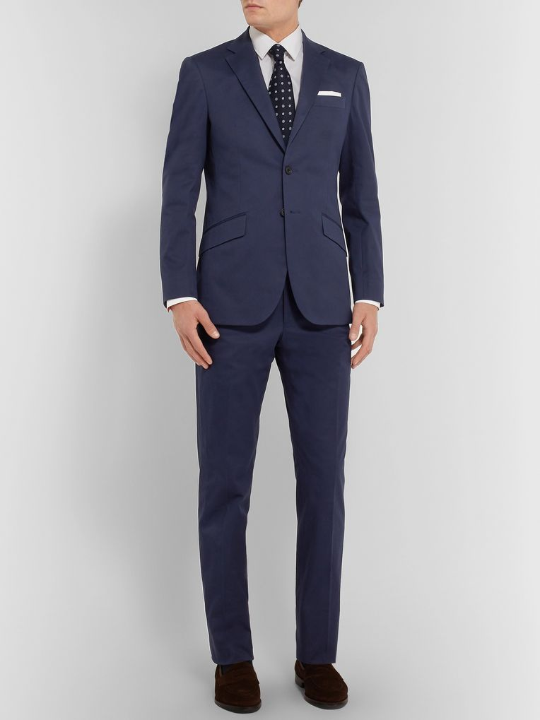 Richard James Navy Stretch-Cotton Twill Suit Jacket
