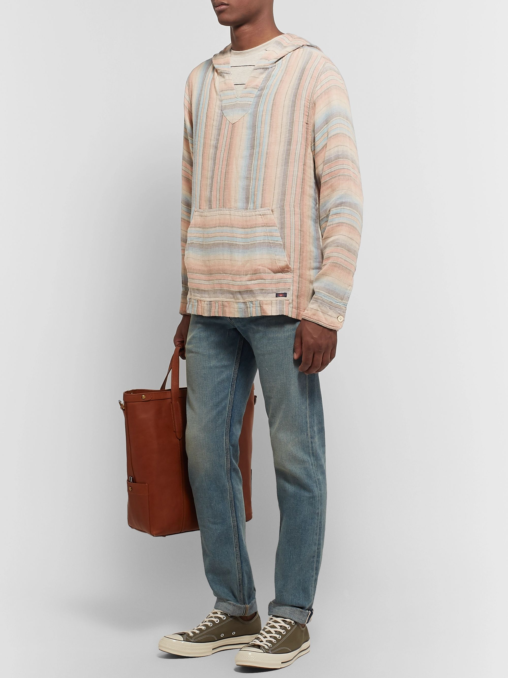 Faherty Baja Striped Tencel and Linen-Blend Hoodie