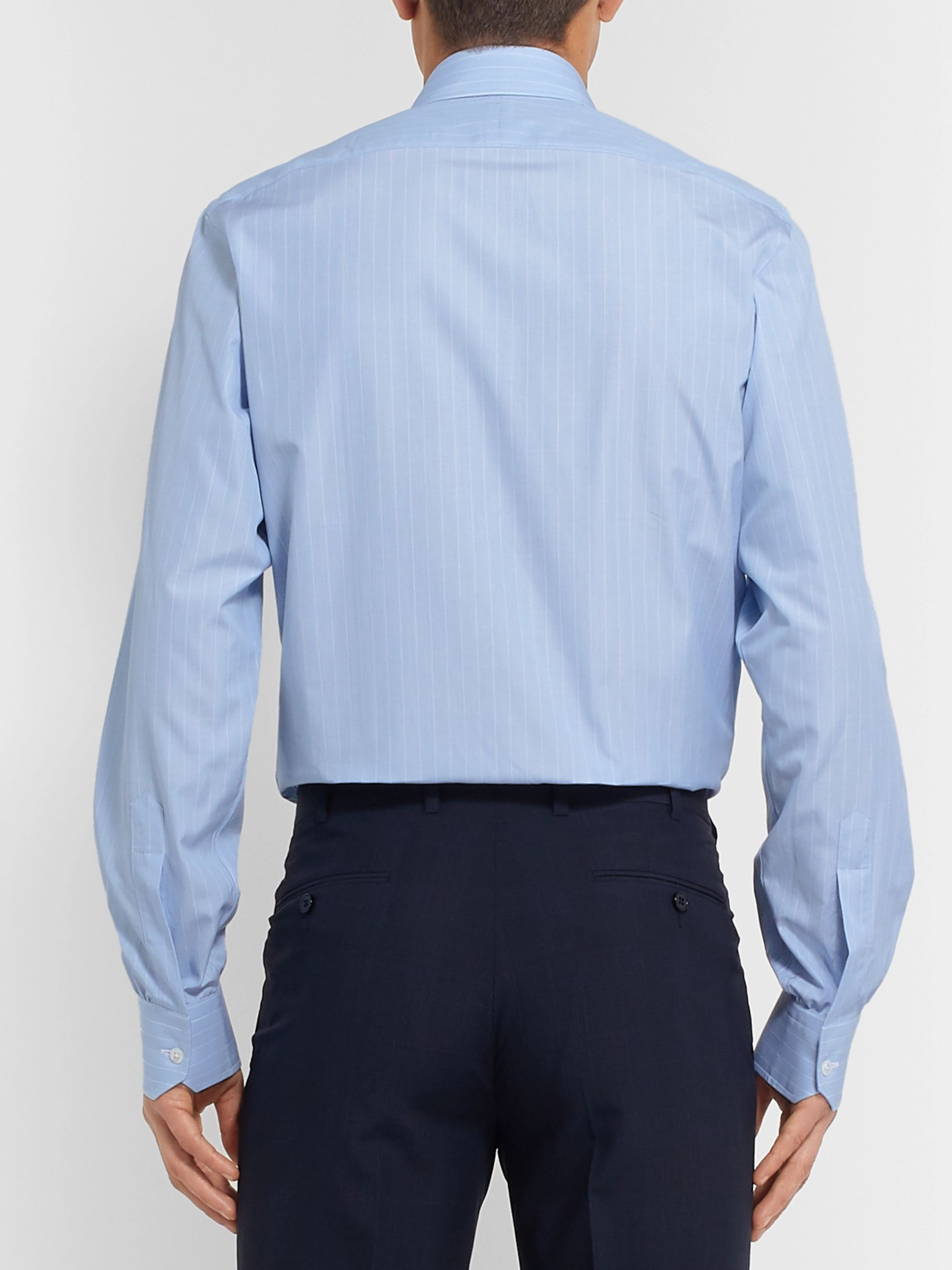Turnbull & Asser Light-Blue Slim-Fit Striped Cotton-Poplin Shirt