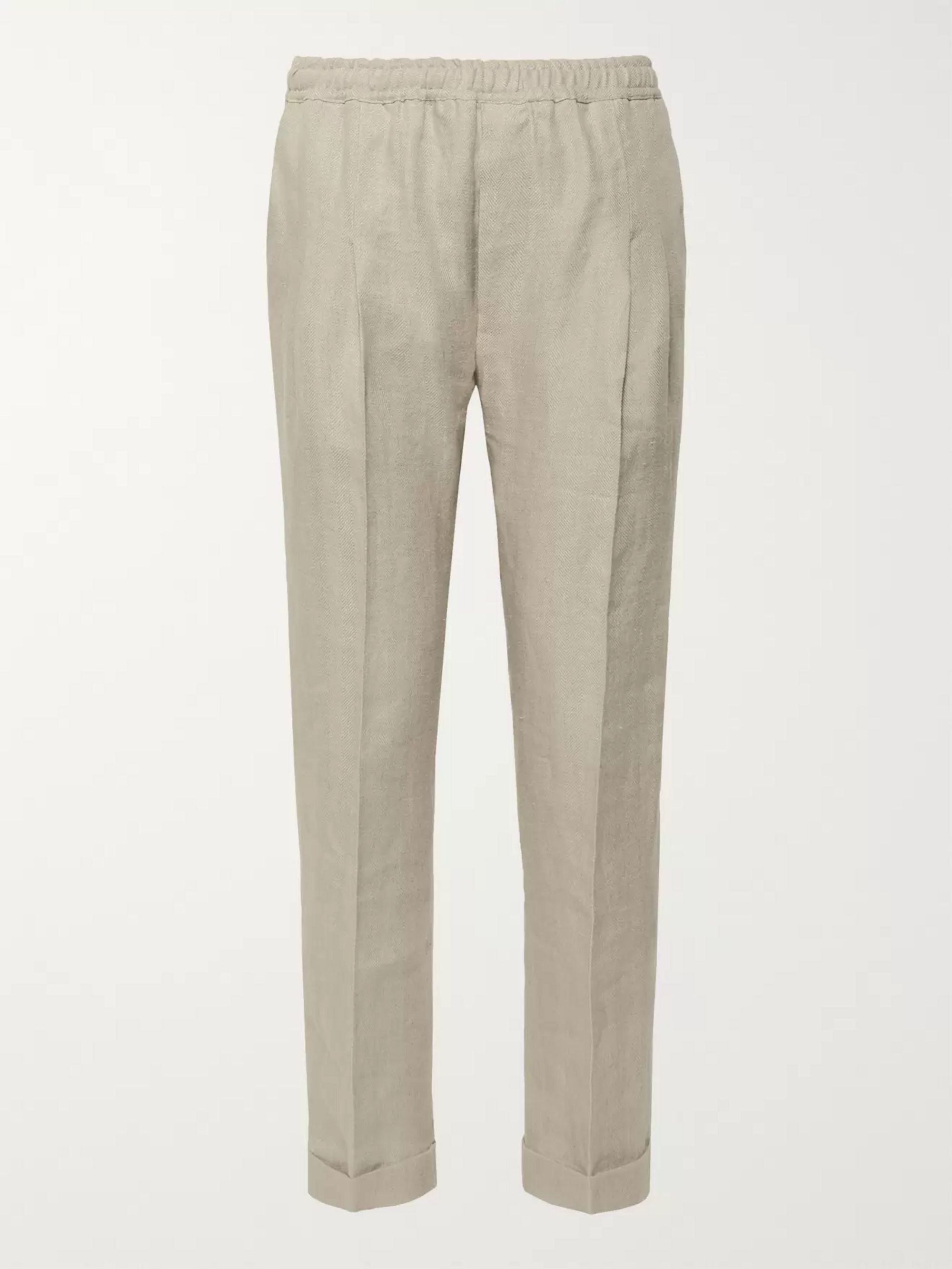 Rubinacci Tapered Pleated Herringbone Linen Drawstring Trousers