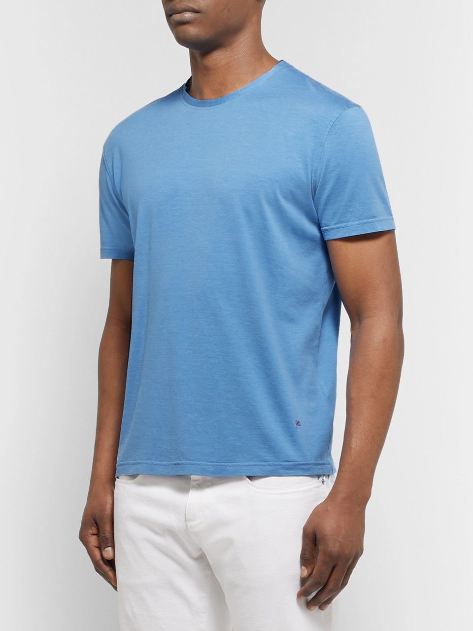 Isaia Slub Silk and Cotton-Blend Jersey T-Shirt