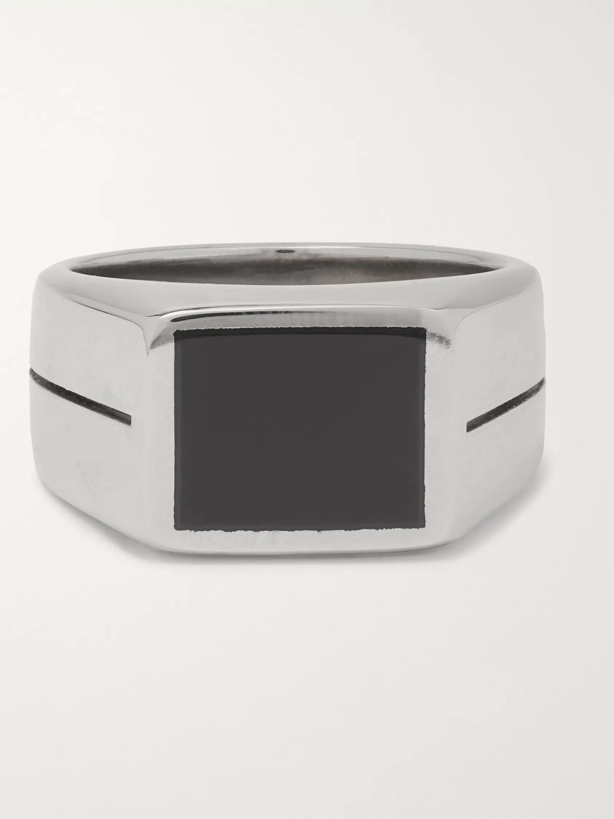 Givenchy Silver-Tone and Enamel Ring