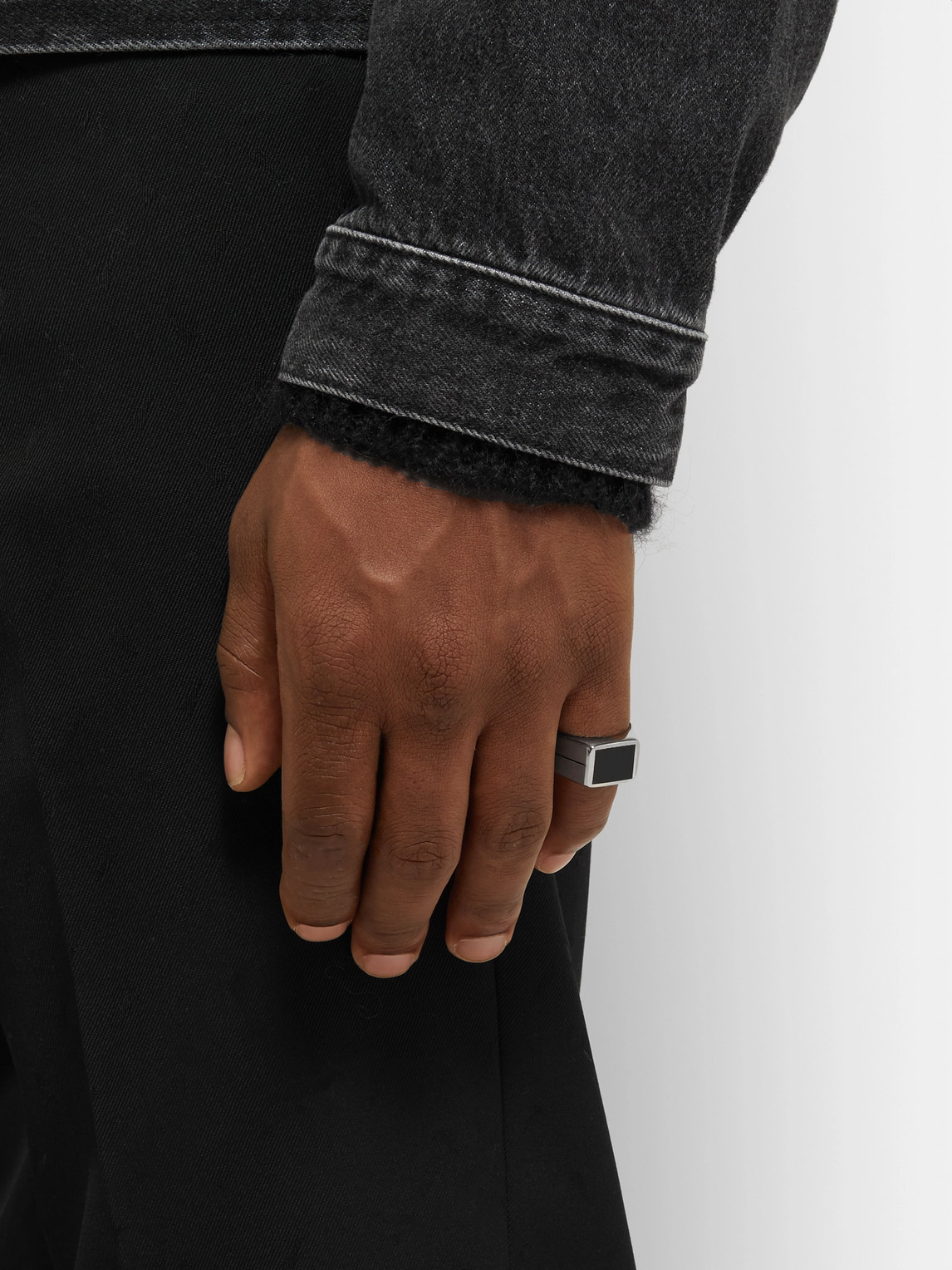 Givenchy Accessories SILVER-TONE AND ENAMEL RING