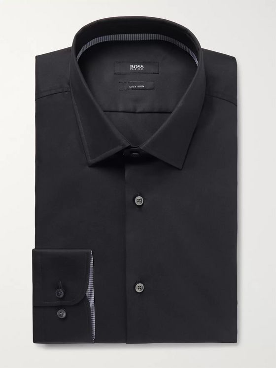 Hugo Boss Navy Jesse Slim-Fit Cotton-Poplin Shirt