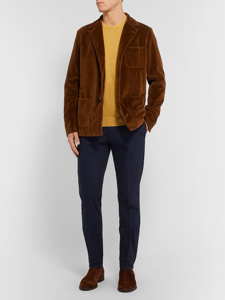 Massimo Alba Brown Slim-Fit Unstructured Cotton-Velvet Blazer