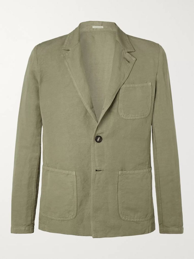 Massimo Alba Green Unstructured Linen and Cotton-Blend Blazer