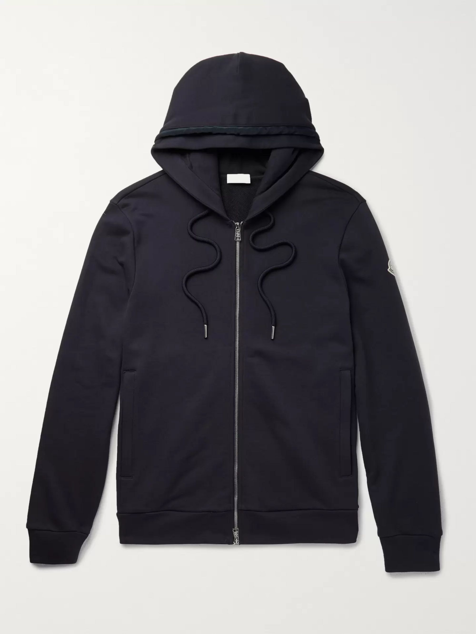 Loopback Cotton Jersey Zip Up Hoodie by Moncler