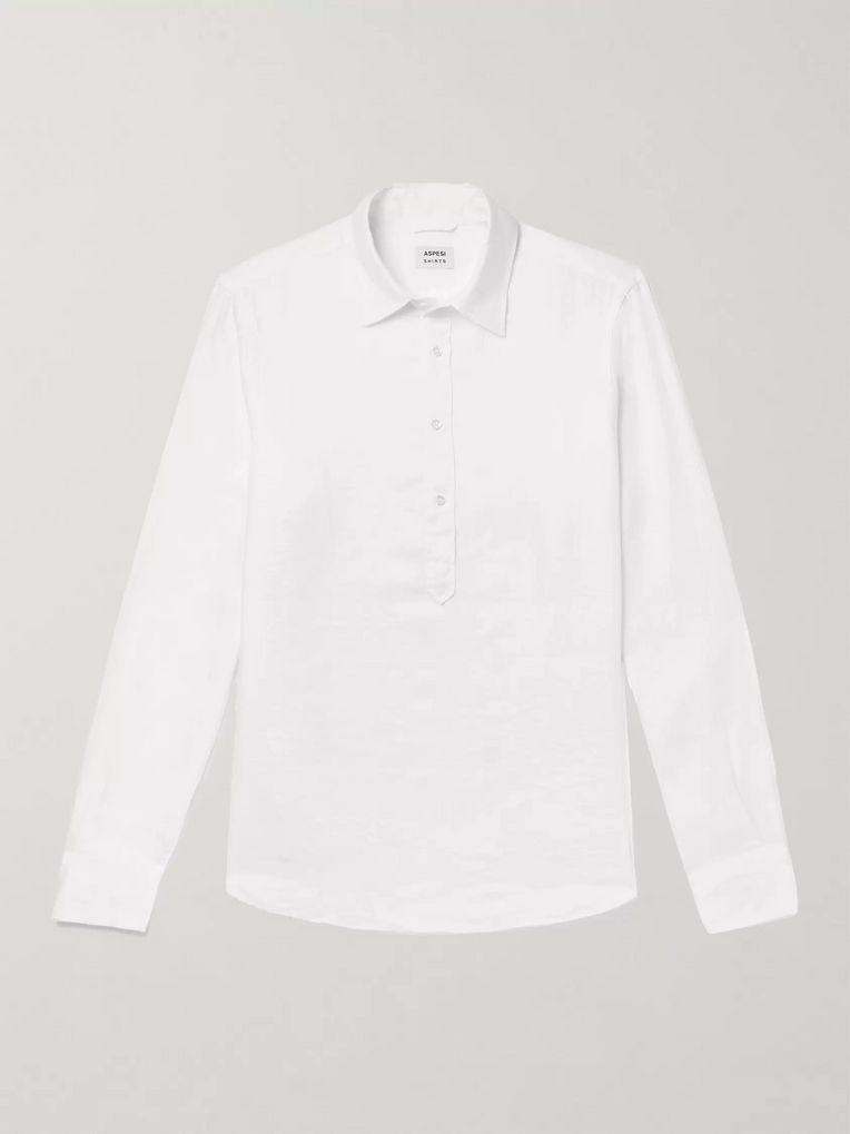 Aspesi Linen Half-Placket Shirt