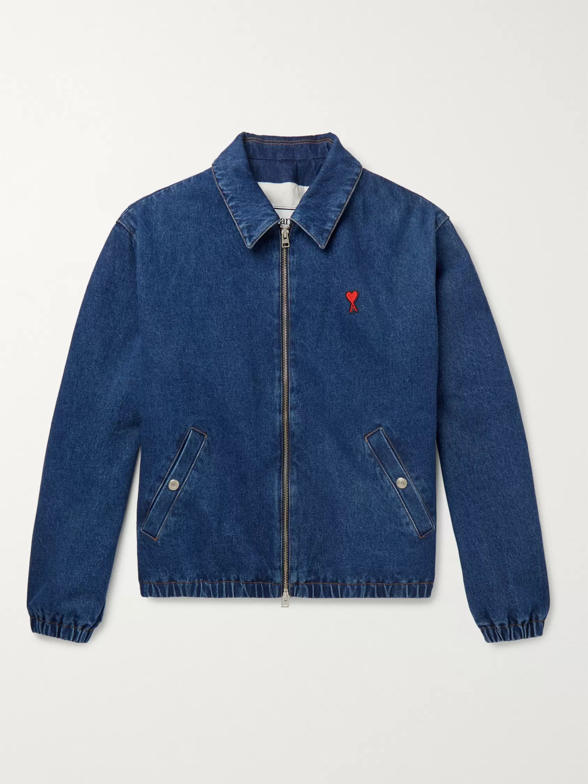 AMI Logo-Appliquéd Cotton-Denim Bomber Jacket