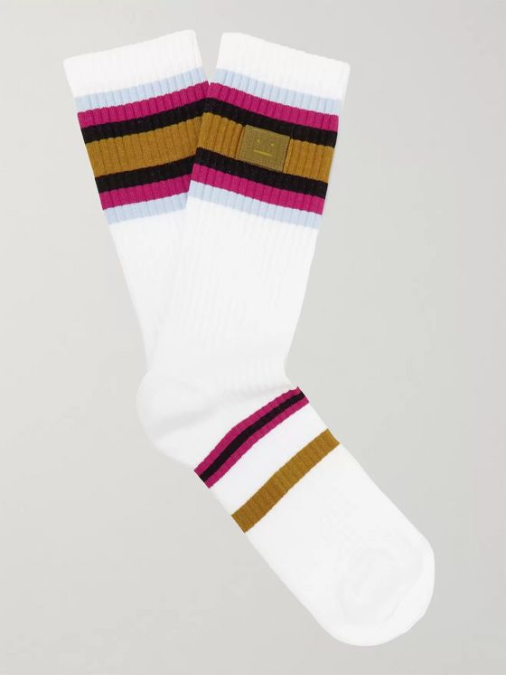 Acne Studios Striped Ribbed Stretch Cotton-Blend Socks