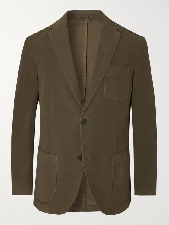 Altea Dark-Green Slim-Fit Cotton-Blend Moleskin Suit Jacket