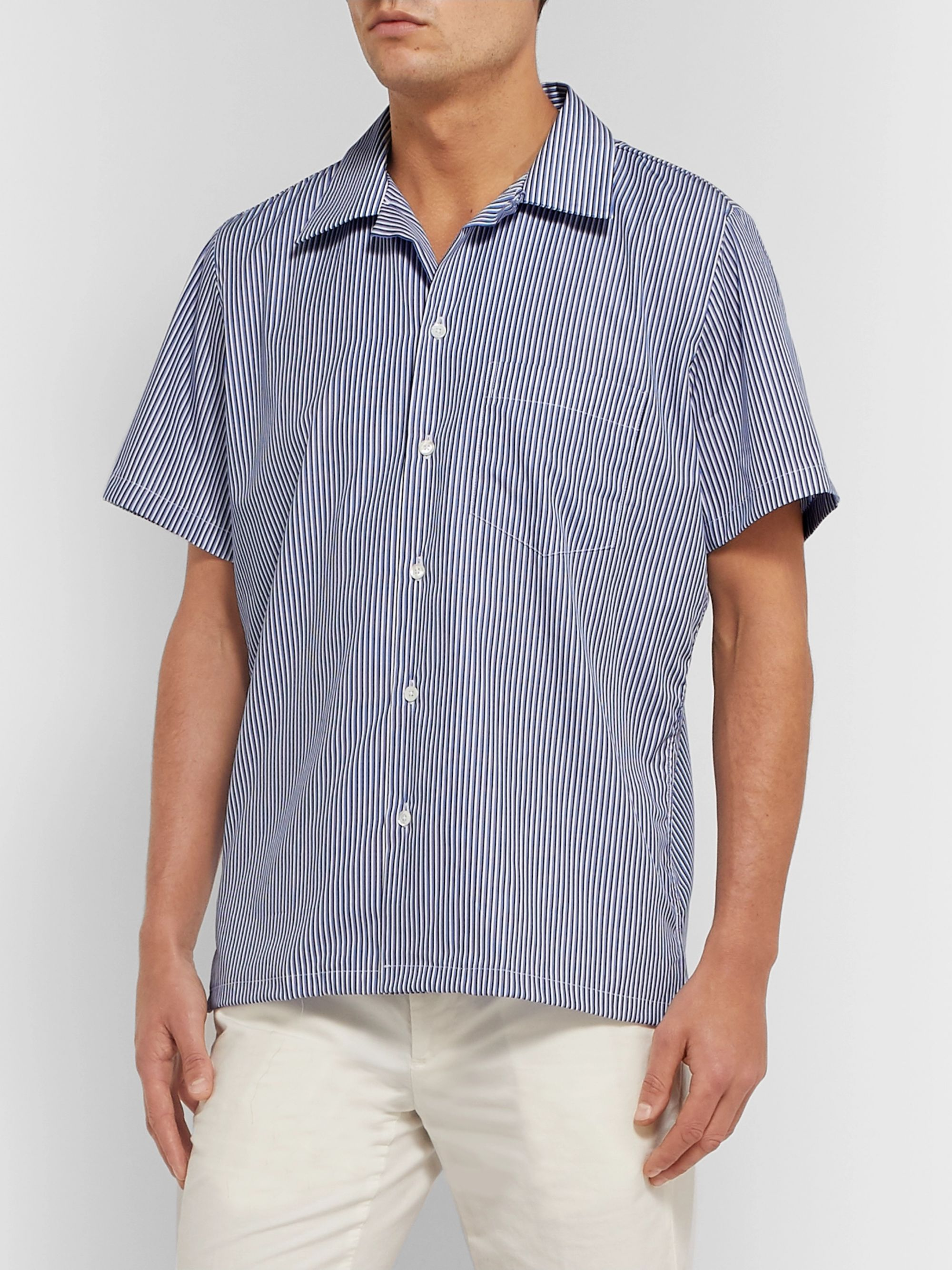 Richard James Camp-Collar Fil Coupé Cotton-Poplin Shirt