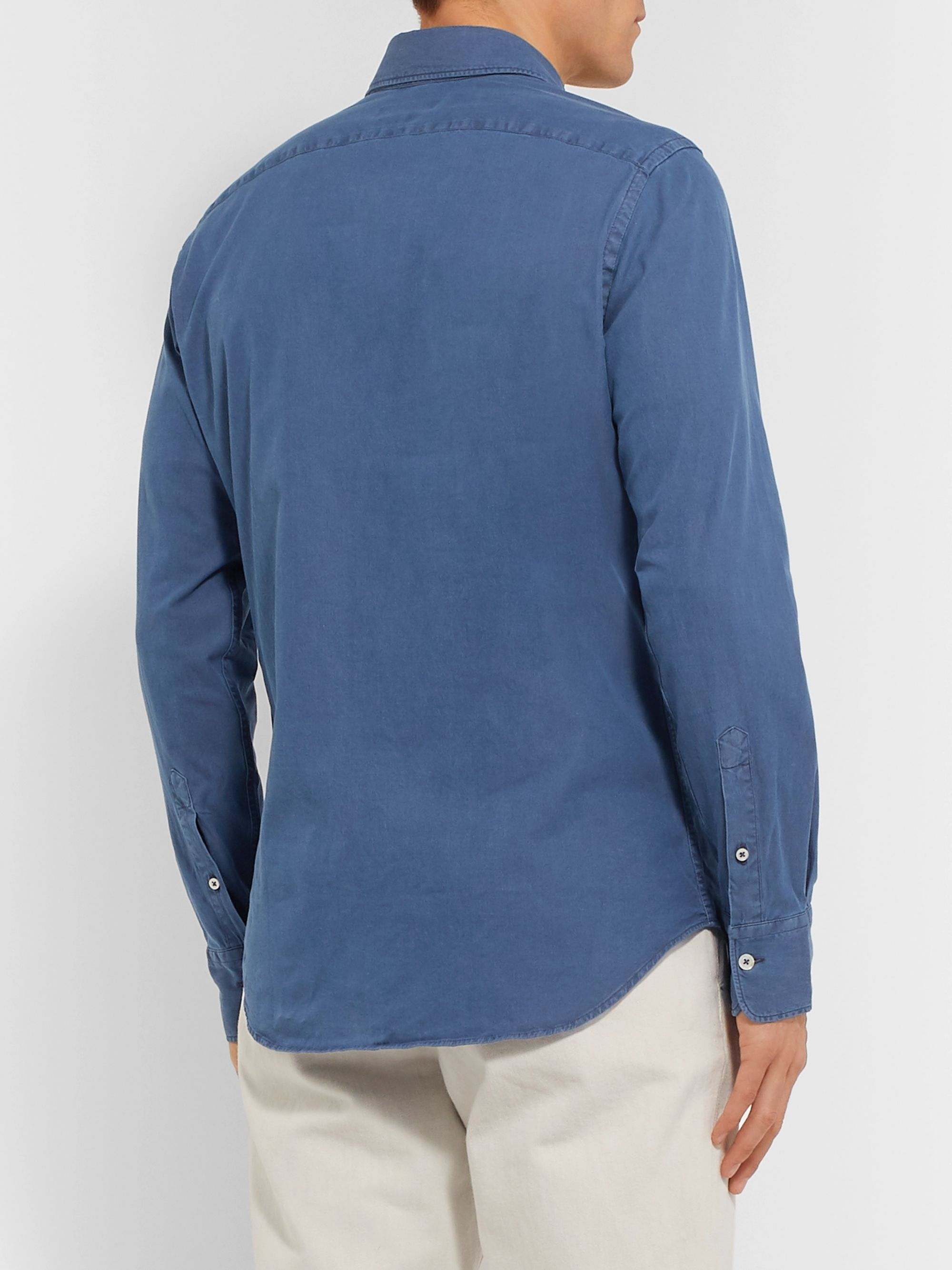Canali Slim-Fit Cotton-Blend Chambray Shirt