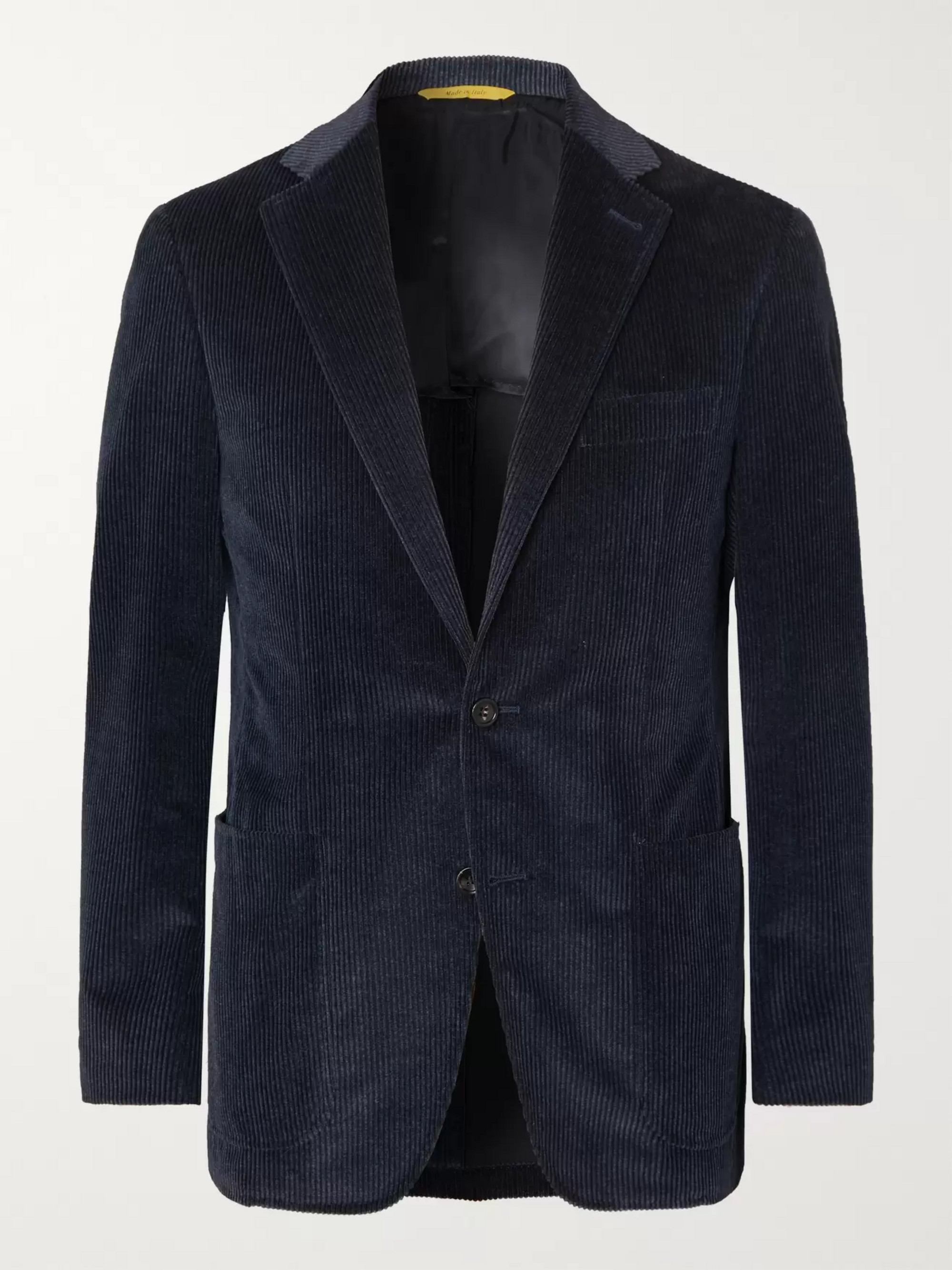 Canali Navy Kei Slim-Fit Cotton-Blend Corduroy Blazer