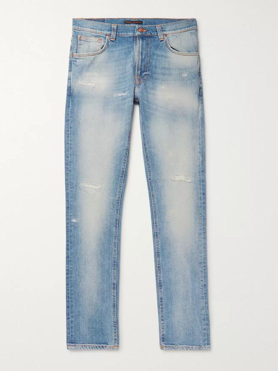 Nudie Jeans Lean Dean Slim-Fit Tapered Distressed Organic Stretch-Denim Jeans