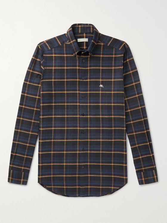 Etro Slim-Fit Button-Down Collar Checked Cotton Shirt