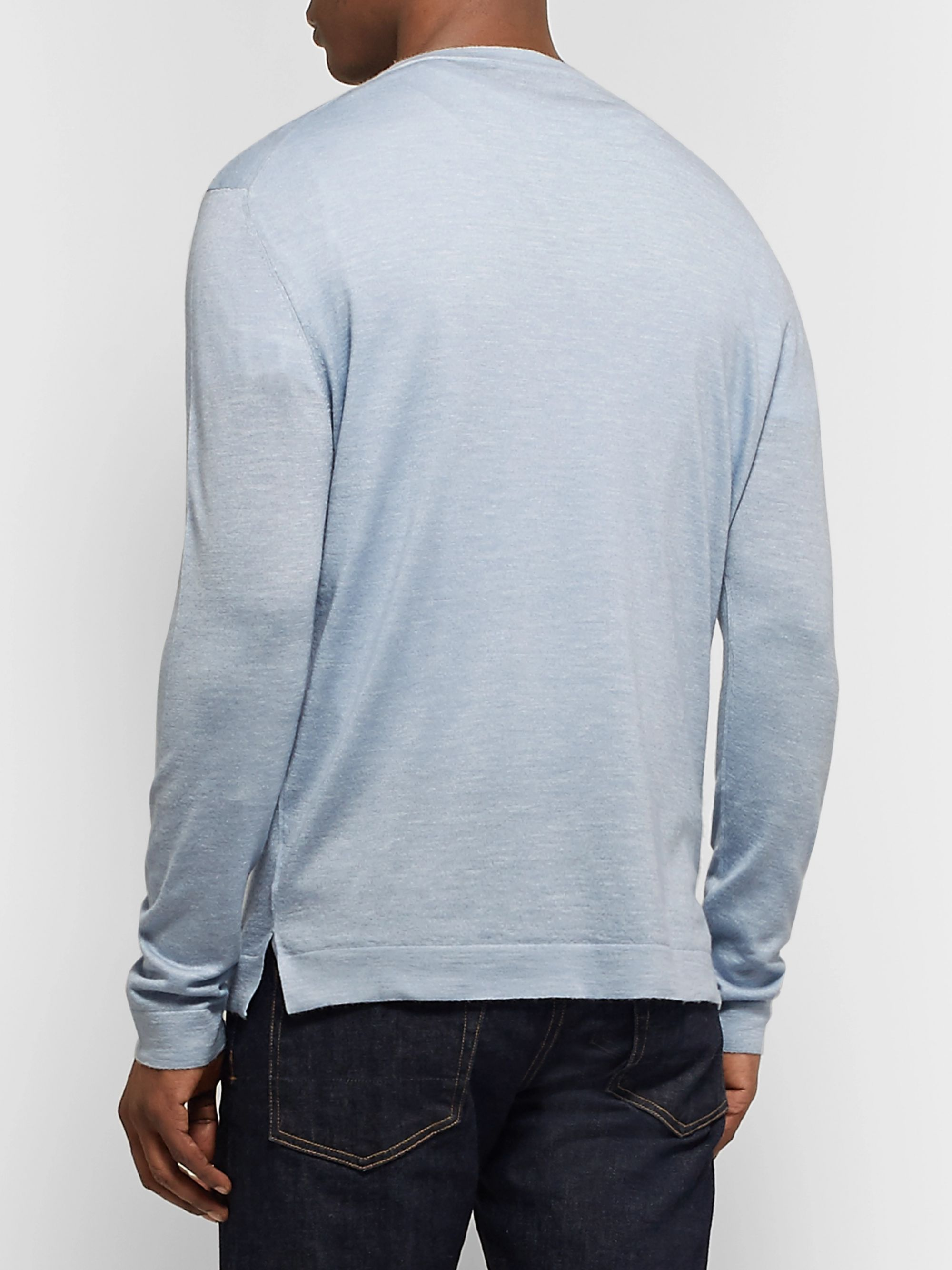 Ermenegildo Zegna Slub Cashmere, Silk and Linen-Blend Sweater