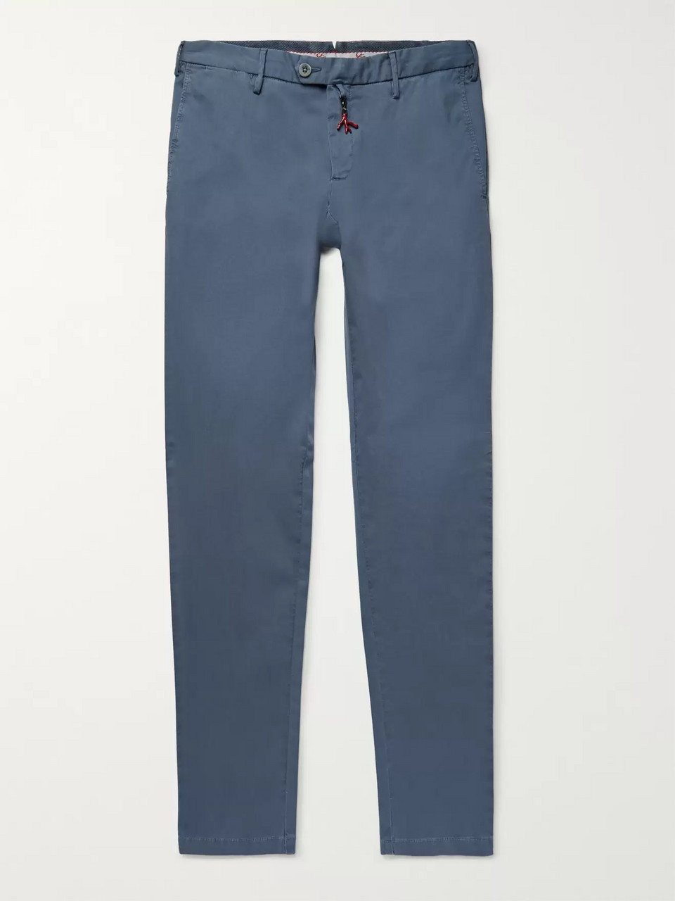 Isaia Blue Slim-FIt Stretch-Cotton Twill Chinos
