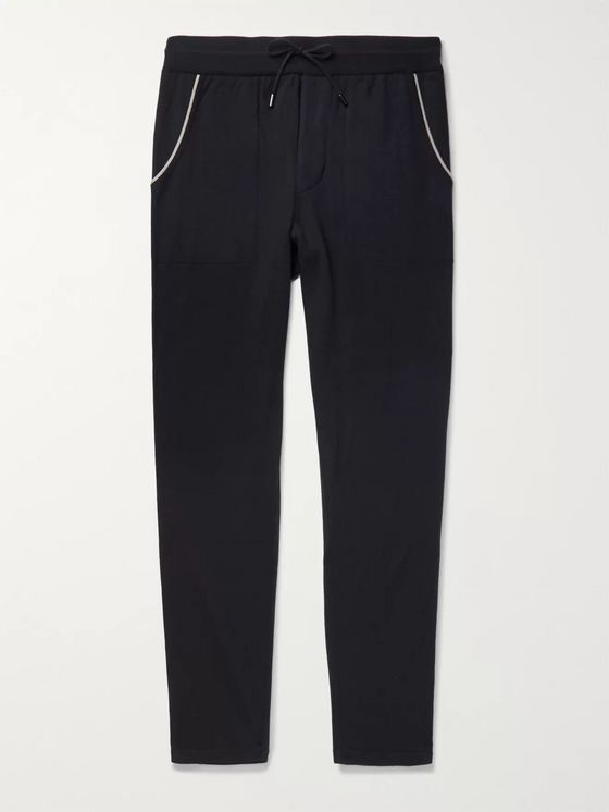 LORO PIANA Tapered Piped Cashmere and Cotton-Blend Sweatpants