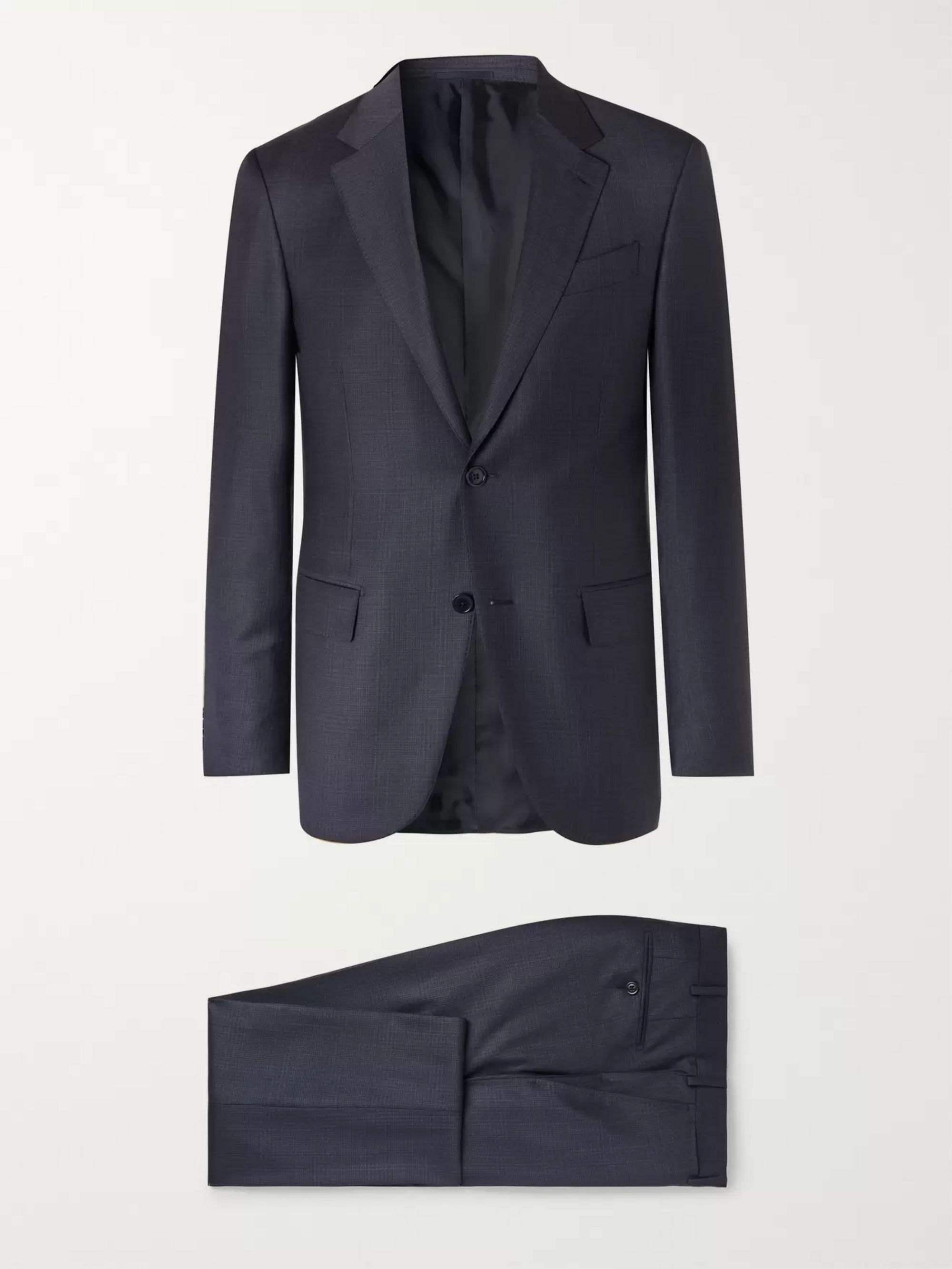 Ermenegildo Zegna Navy Easy Slim-Fit Mélange Wool and Silk-Blend Suit