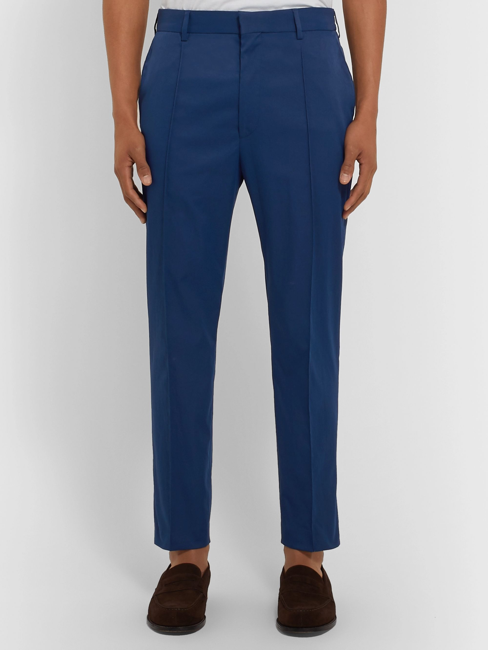 Hugo Boss Cream Paco Cropped Slim-Fit Twill Trousers