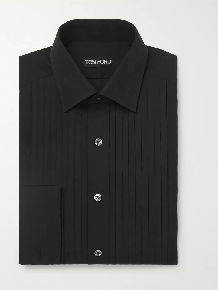 TOM FORD Black Slim-Fit Bib-Front Double-Cuff Cotton-Poplin Shirt