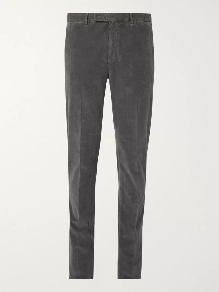 Boglioli Midnight-Blue Slim-Fit Stretch-Cotton Corduroy Suit Trousers