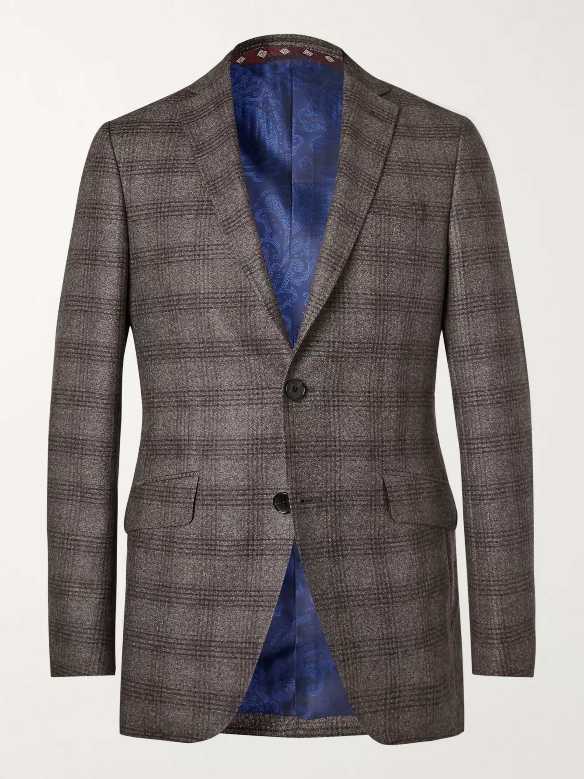 Etro Grey Slim-Fit Checked Wool Blazer