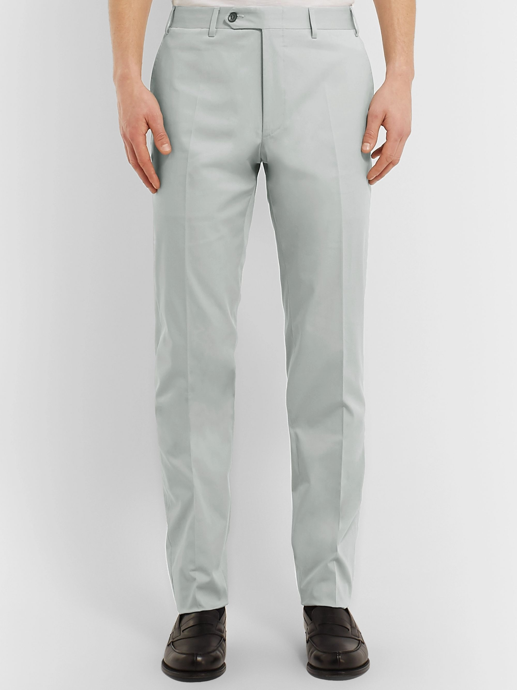 Canali Light-Grey Kei Slim-Fit Tapered Stretch-Cotton Twill Suit Trousers