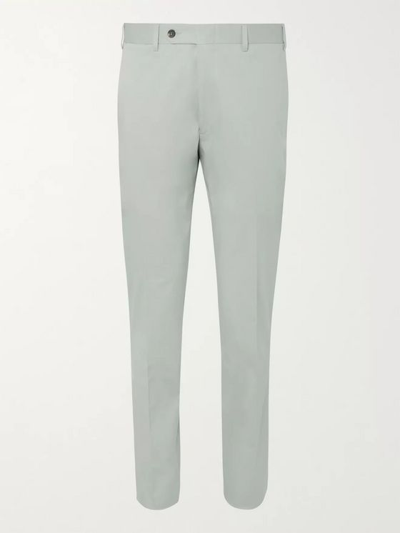 Canali Dark-Beige Kei Slim-Fit Tapered Stretch-Cotton Twill Suit Trousers